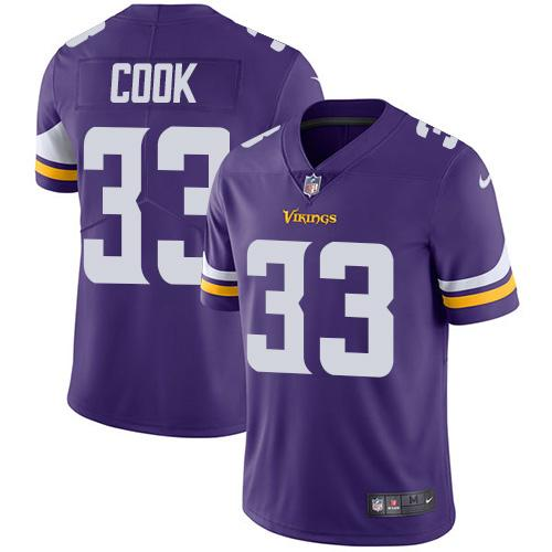 Men 2019 Minnesota Vikings 33 Cook purple Nike Vapor Untouchable Limited NFL Jersey