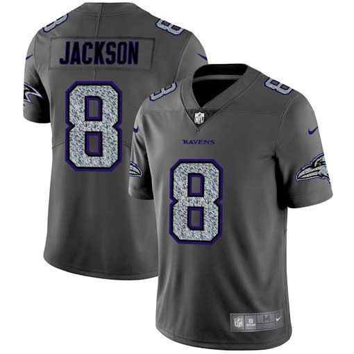 Men Baltimore Ravens 8 Jackson Nike Teams Gray Fashion Static Limited NFL Jerseys