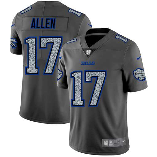 Men Buffalo Bills 17 Allen Nike Teams Gray Fashion Static Limited NFL Jerseys