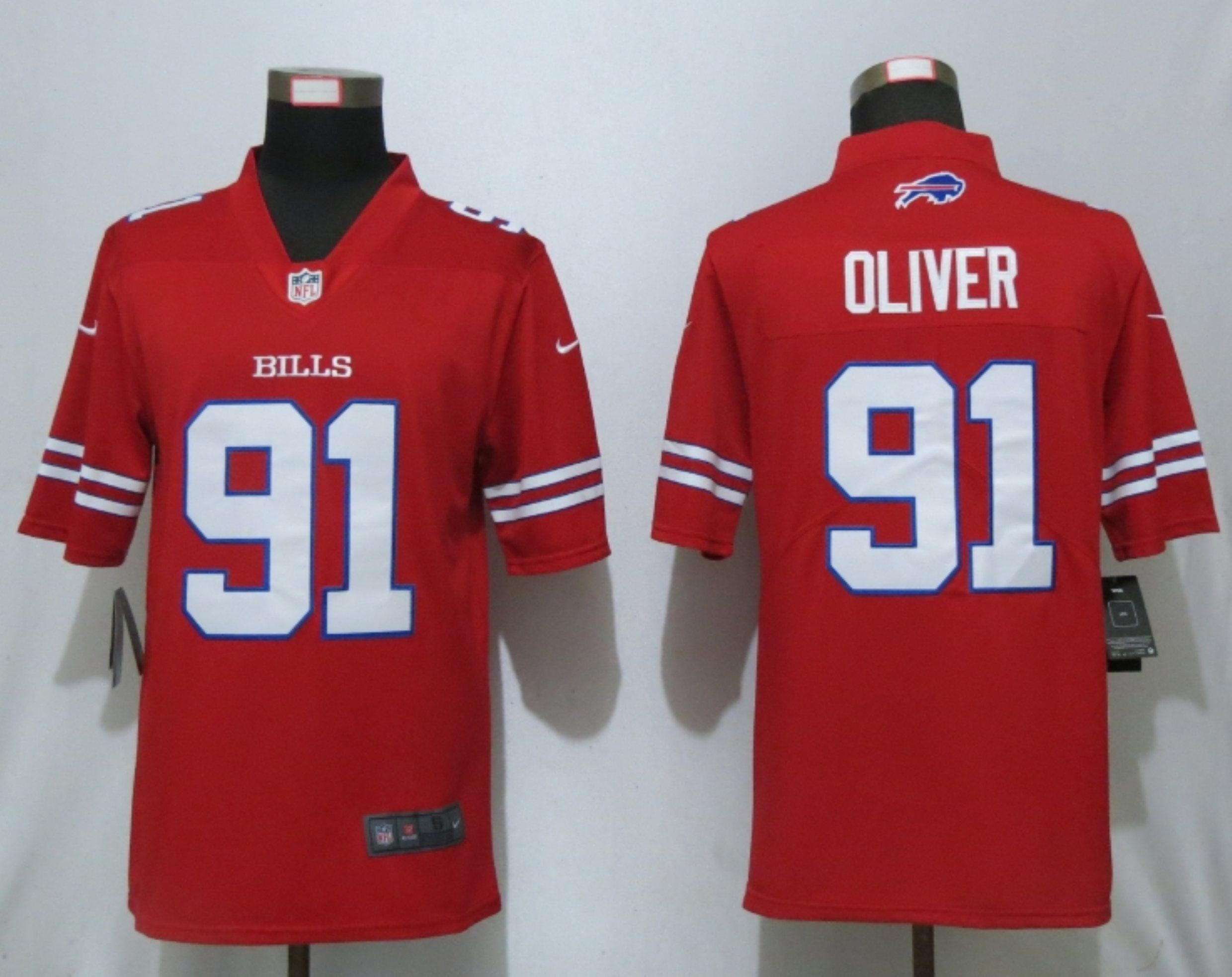 Men Buffalo Bills 91 Oliver Navy Red Nike Color Rush Limited NFL Jerseys