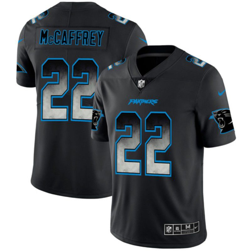 Men Carolina Panthers 22 Mccafrey Nike Teams Black Smoke Fashion Limited NFL Jerseys