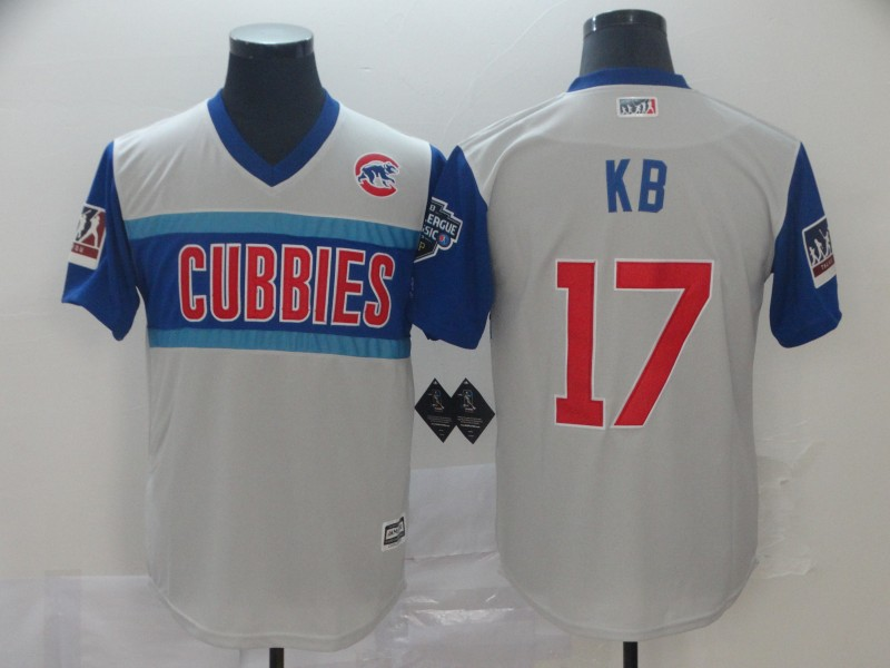 Men Chicago Cubs 17 Kb white blue throwback MLB Jerseys