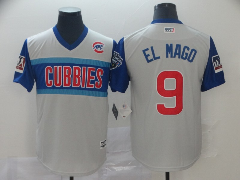 Men Chicago Cubs 9 El Mago white blue throwback MLB Jerseys