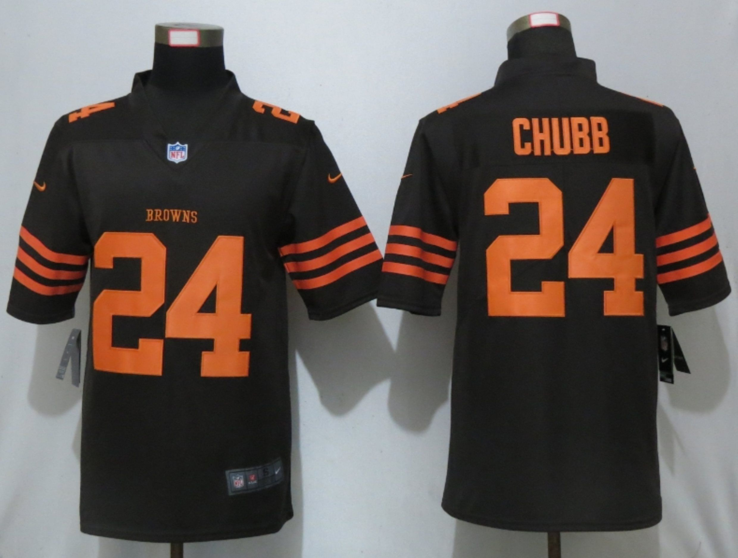 Men Cleveland Browns 24 Chubb Navy Pick Nike Color Rush Limited NFL Jerseys
