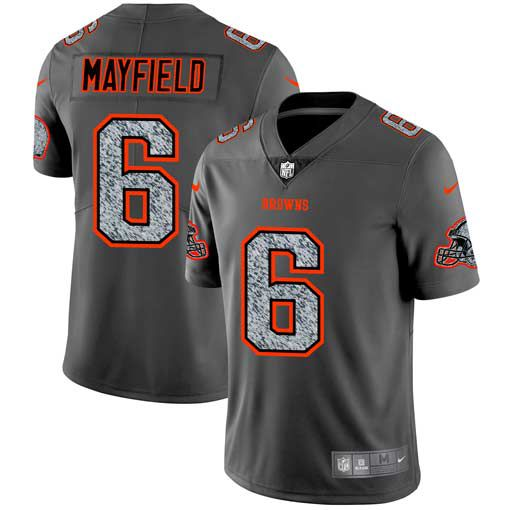 Men Cleveland Browns 6 Mayfield Nike Teams Gray Fashion Static Limited NFL Jerseys