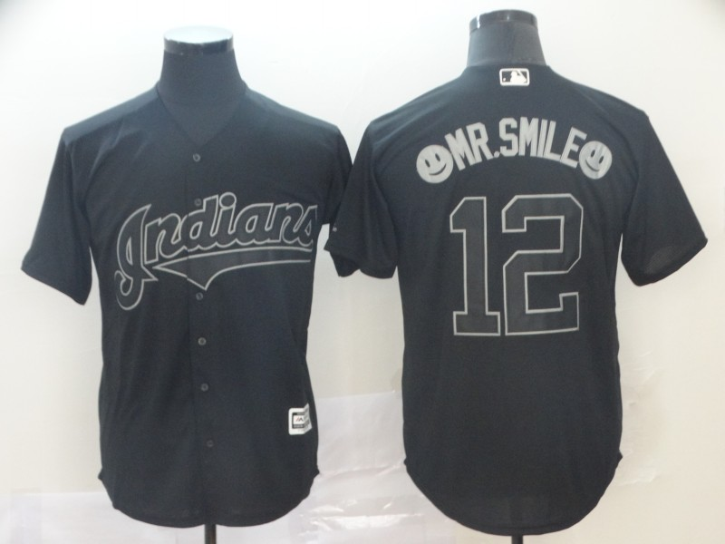 Men Cleveland Indians 12 Mr Smile Black MLB Jerseys