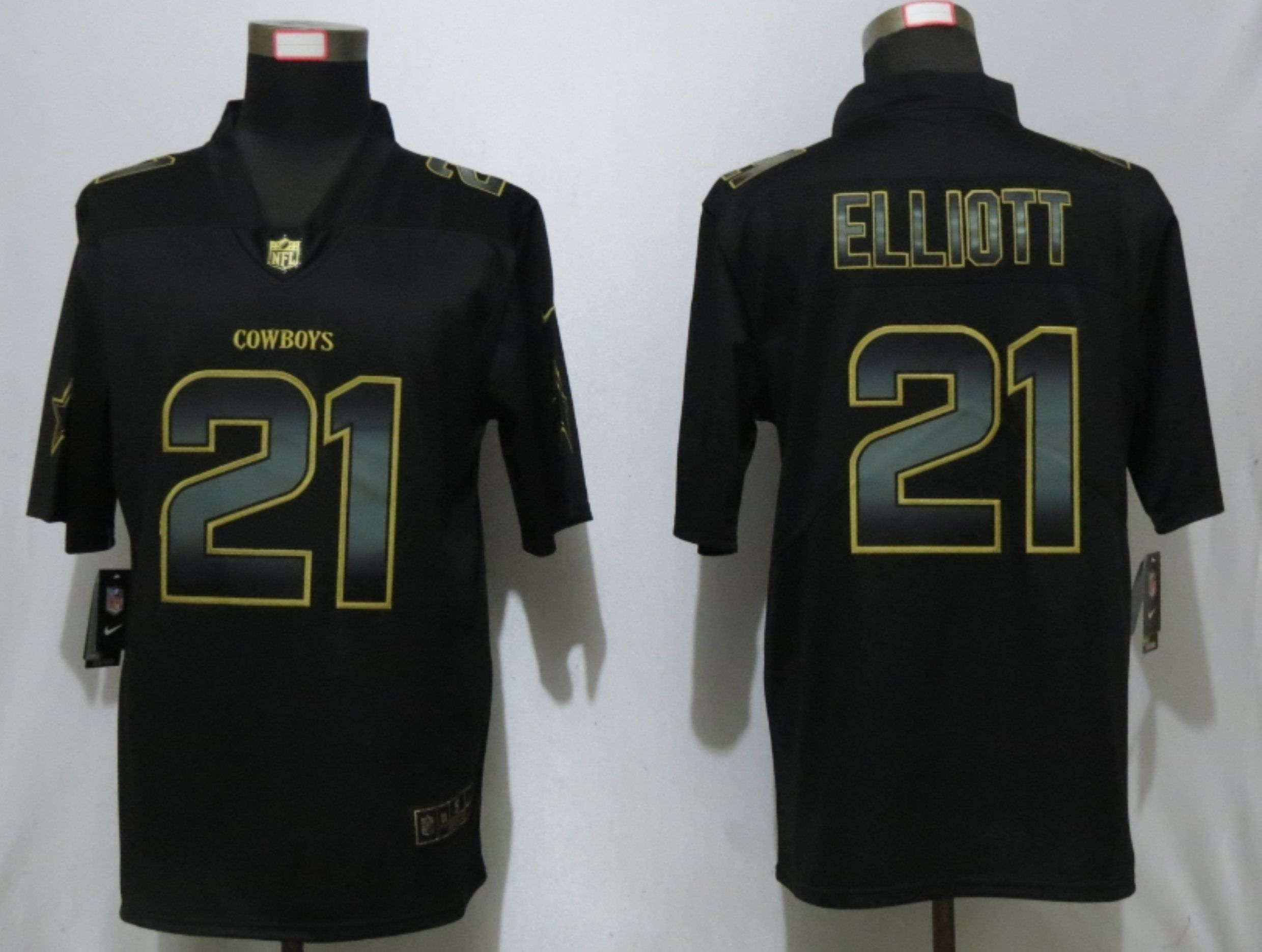Men Dallas cowboys 21 Elliott Nike Vapor Limited Black Golden NFL Jerseys