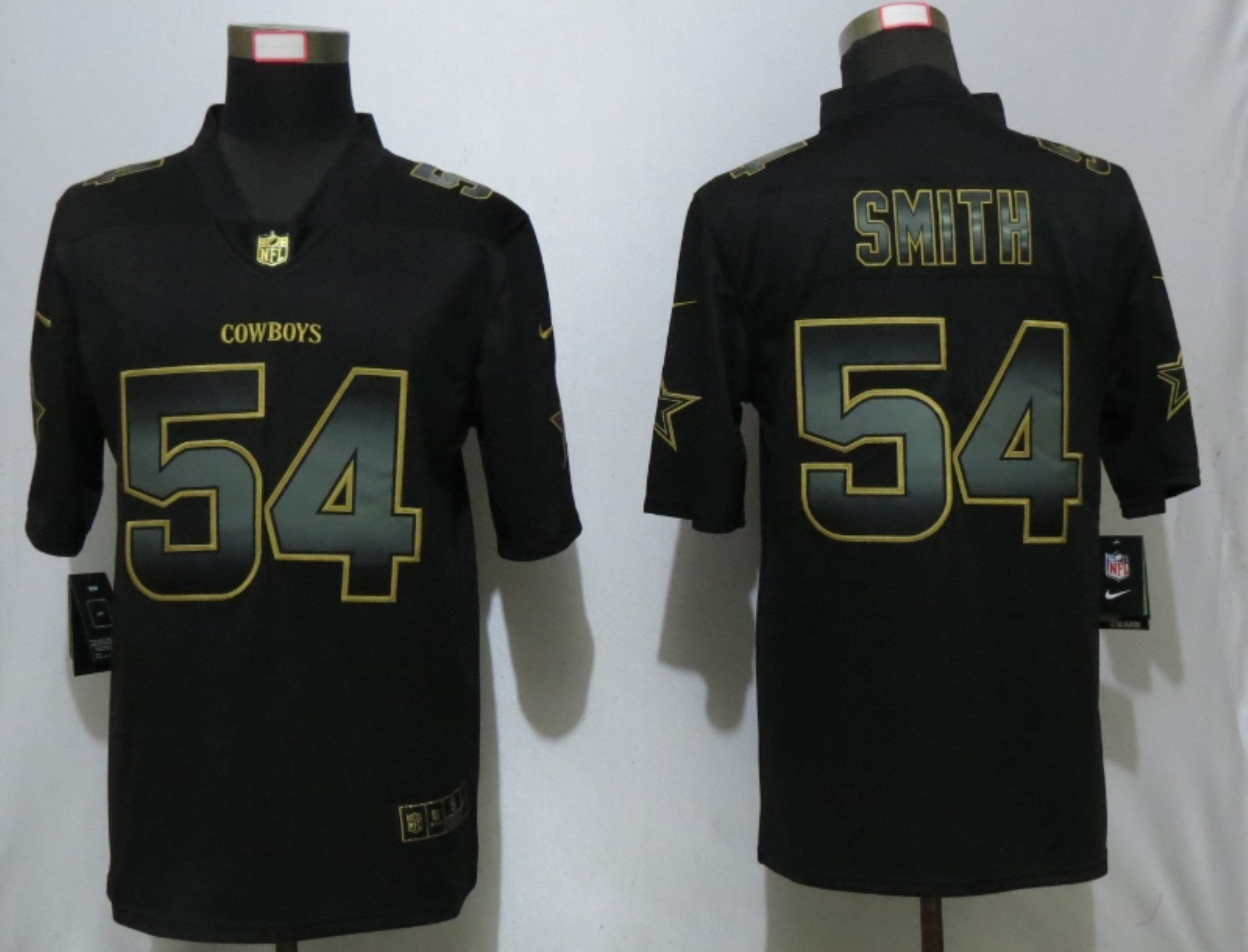 Men Dallas cowboys 54 Smitn Nike Vapor Limited Black Golden NFL Jerseys