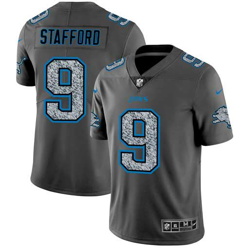 Men Detroit Lions 9 Stafford Nike Teams Gray Fashion Static Limited NFL Jerseys