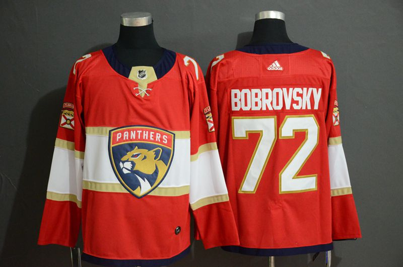 Men Florida Panthers 72 Bobrovsky Red Adidas Stitched NHL Jersey