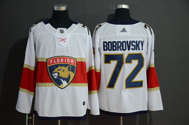 Men Florida Panthers 72 Bobrovsky White Adidas Stitched NHL Jersey