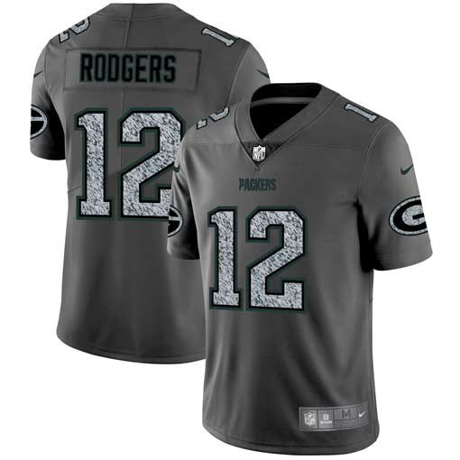 Men Green Bay Packers 12 Rodgers Nike Teams Gray Fashion Static Limited NFL Jerseys