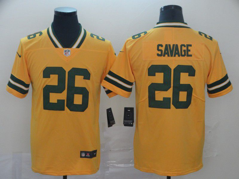 Men Green Bay Packers 26 Savage Yellow Grey Nike Vapor Untouchable Limited NFL Jersey