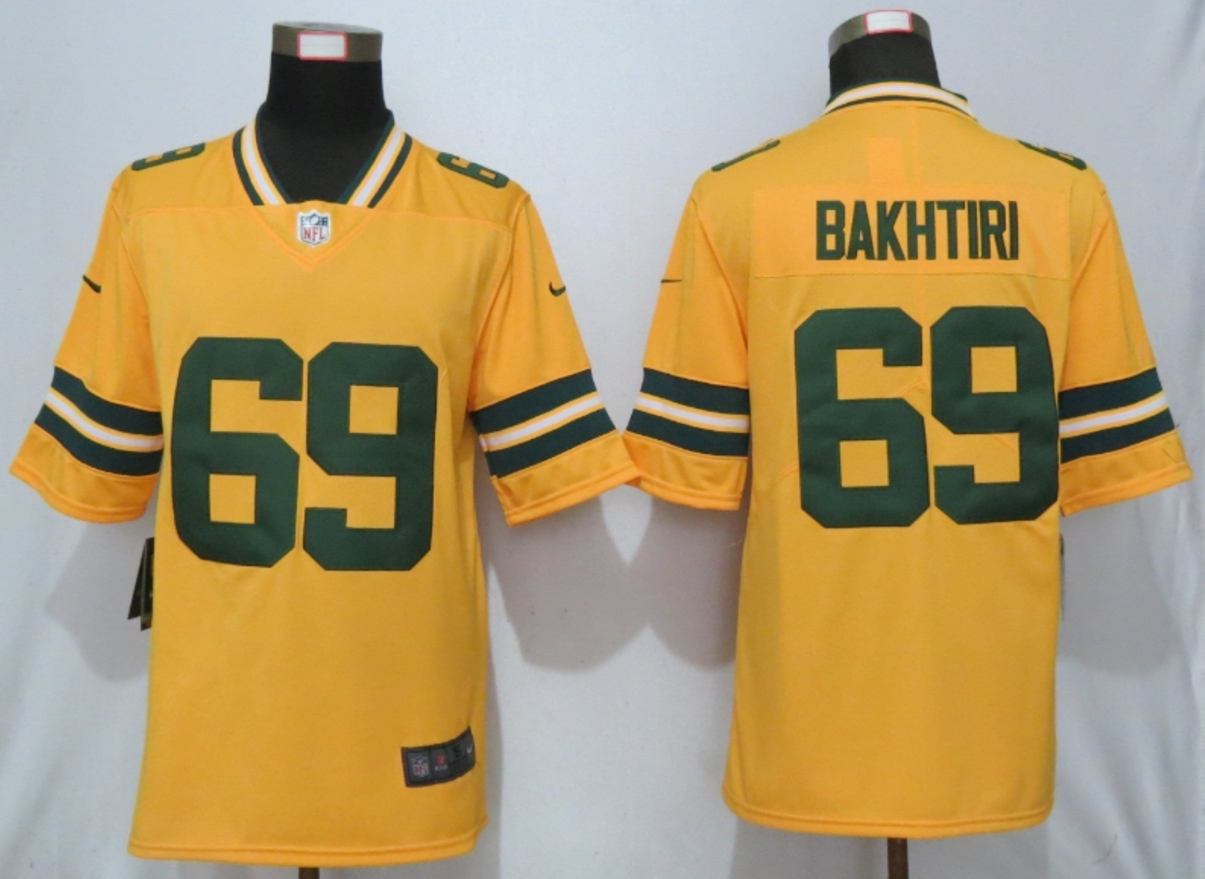 Men Green Bay Packers 69 Bakhtiari Yellow Nike Vapor Untouchable Limited NFL Jersey