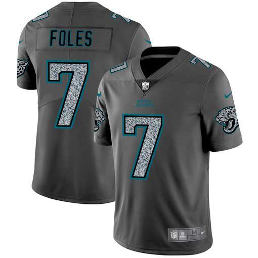 Men Jacksonville Jaguars 7 Foles Nike Teams Gray Fashion Static Limited NFL Jerseys