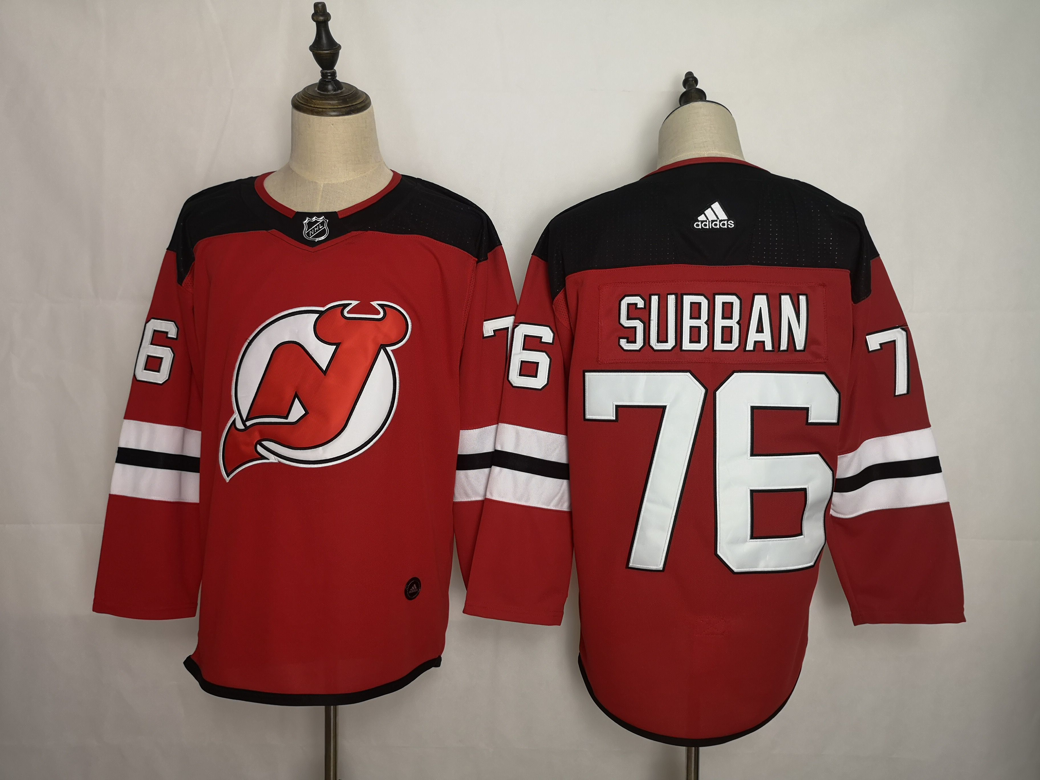 Men New Jersey Devils 76 Subban Red Adidas Stitched NHL Jersey