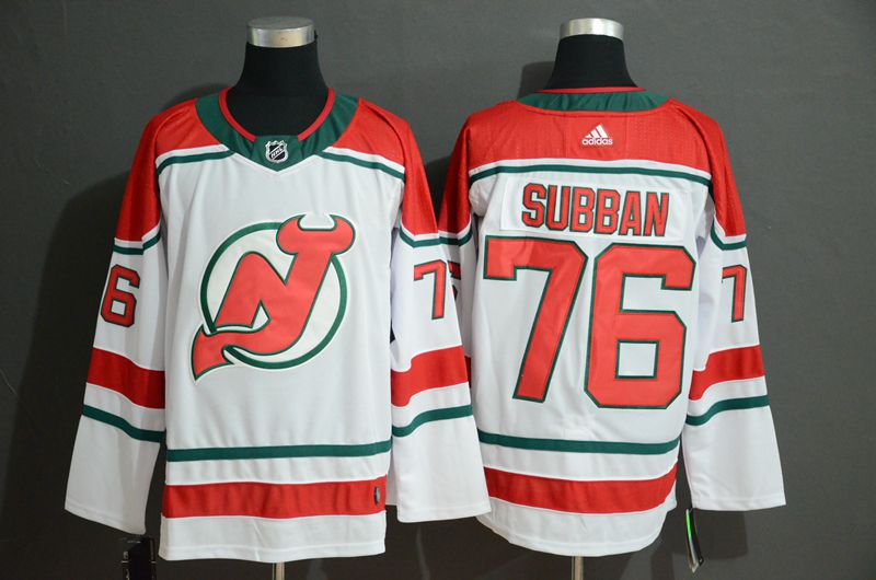 Men New Jersey Devils 76 Subban White Adidas Stitched NHL Jersey