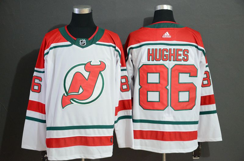 Men New Jersey Devils 86 Hughes White Adidas Stitched NHL Jersey
