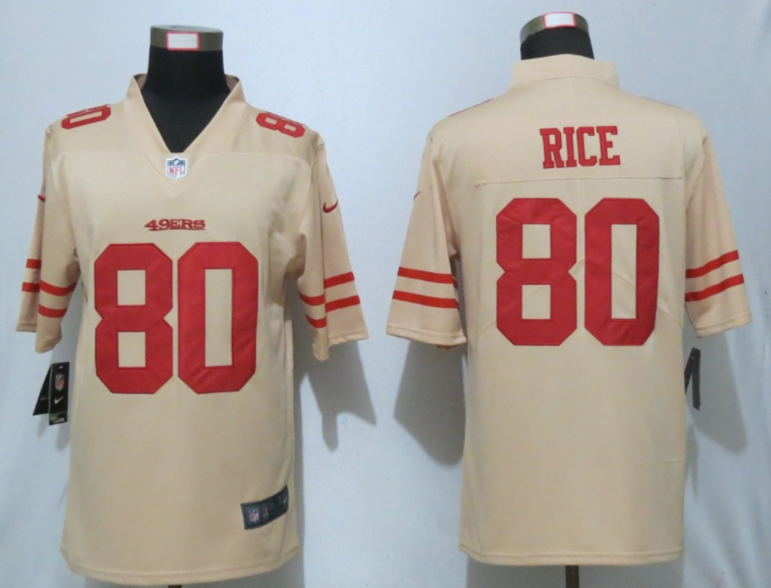 Men New Nike San Francisco 49ers 80 Rice 2019 Vapor Untouchable Gold Inverted Legend Jersey