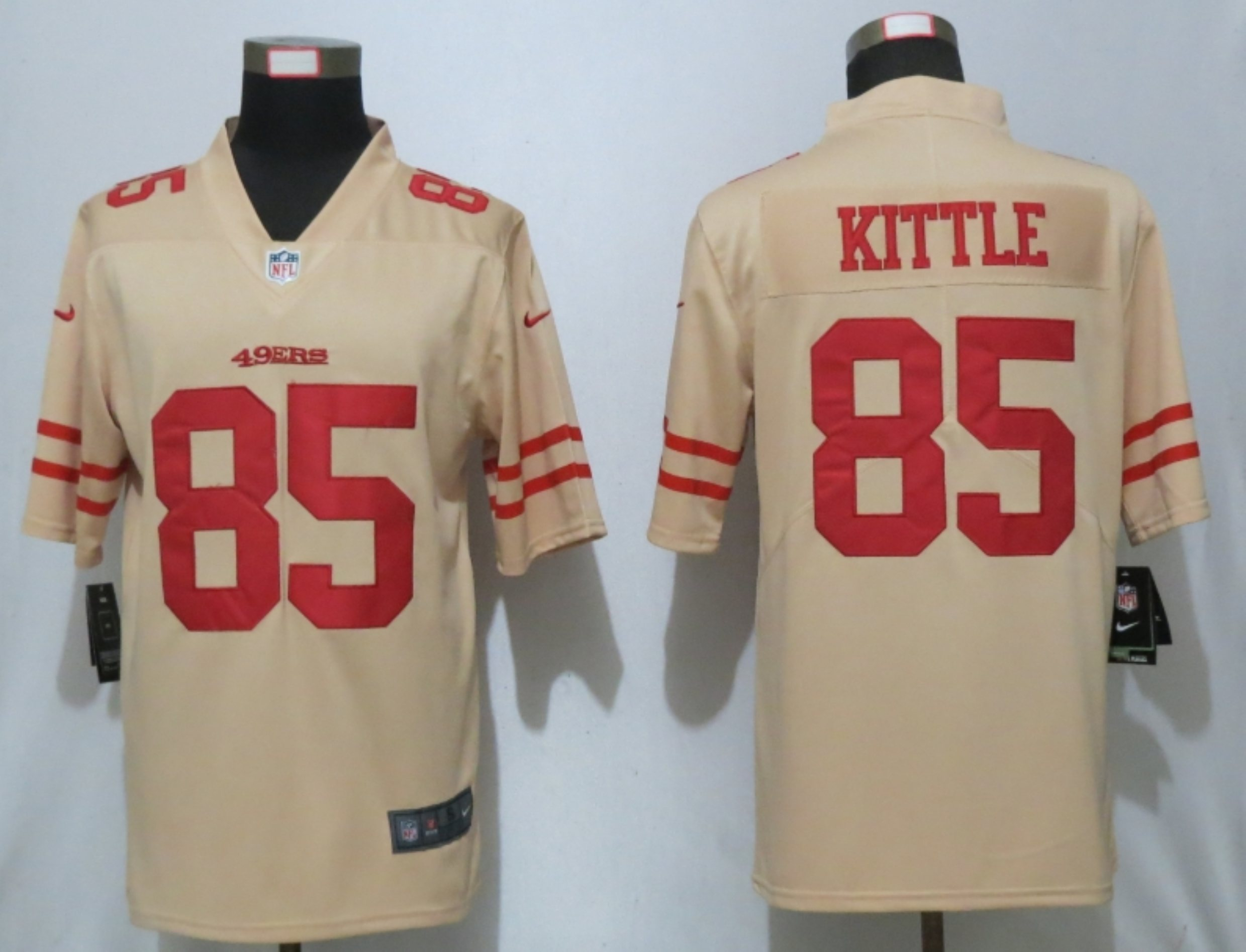 Men New Nike San Francisco 49ers 85 Kittle 2019 Vapor Untouchable Gold Inverted Legend Jersey