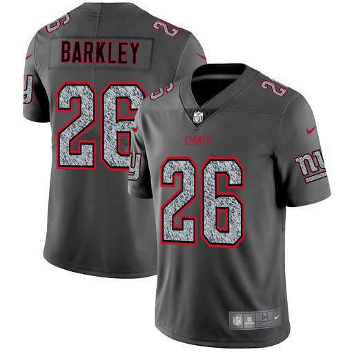 Men New York Giants 26 Barkley Nike Teams Gray Fashion Static Limited NFL Jerseys