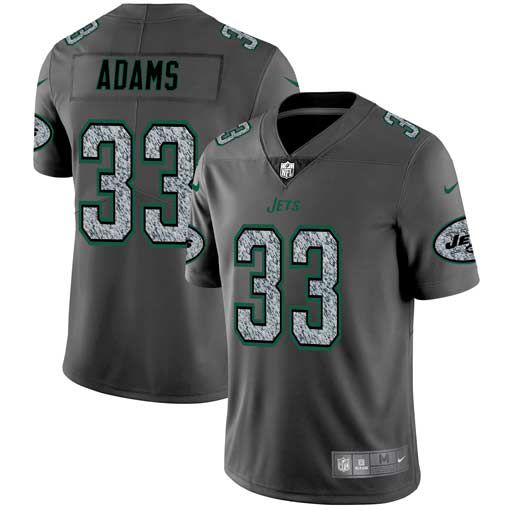 Men New York Jets 33 Adams Nike Teams Gray Fashion Static Limited NFL Jerseys