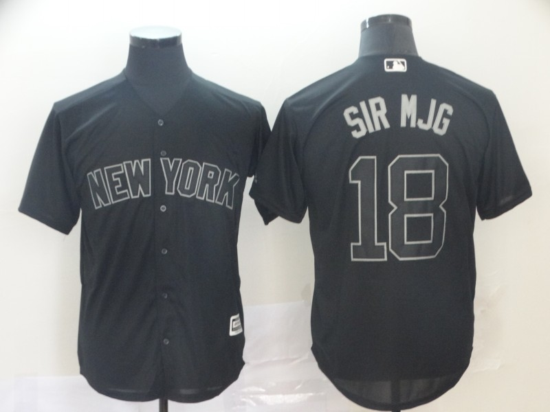 Men New York Yankees 18 Sir Mjg Black MLB Jerseys