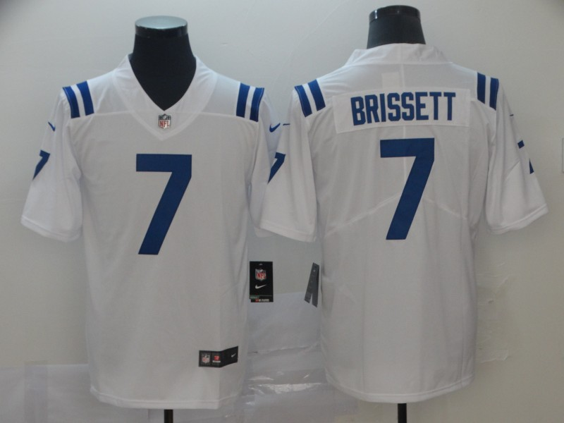 Men Nike Indianapolis Colts 7 Brissett 2019 Vapor Untouchable white Inverted Legend Limited Jersey