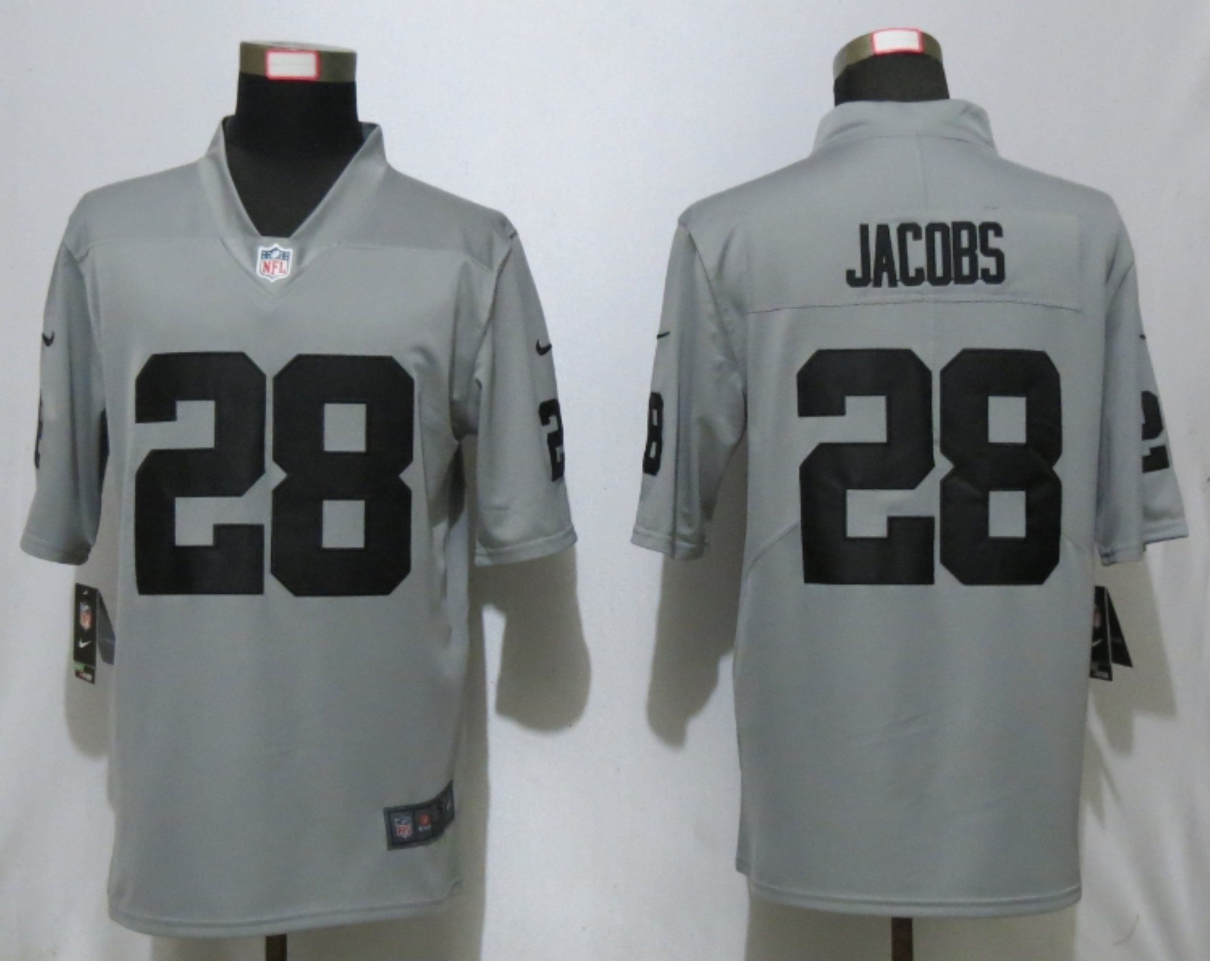 Men Oakland Raiders 28 Jacobs Grey 2019 Vapor Untouchable Nike Silver Inverted Legend NFL Jersey