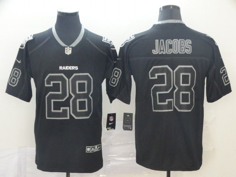 Men Oakland Raiders 28 Jacobs Nike Lights Out Black Color Rush Limited NFL Jerseys