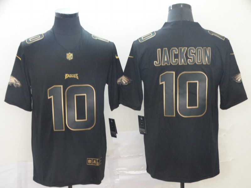 Men Philadelphia Eagles 10 Jackson Nike Vapor Limited Black Golden NFL Jerseys