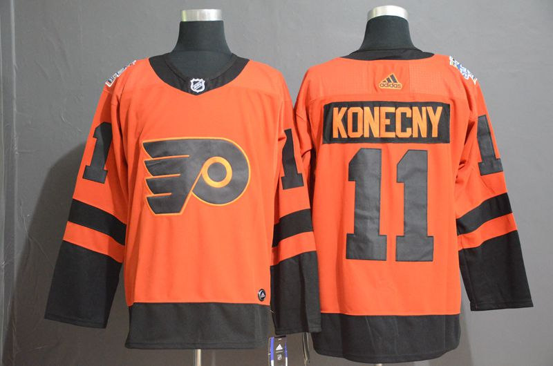 Men Philadelphia Flyers 11 Konecny Orange Adidas Third Edition Adult NHL Jersey