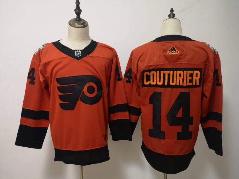 Men Philadelphia Flyers 14 Couturier Orange Adidas Third Edition Adult NHL Jersey