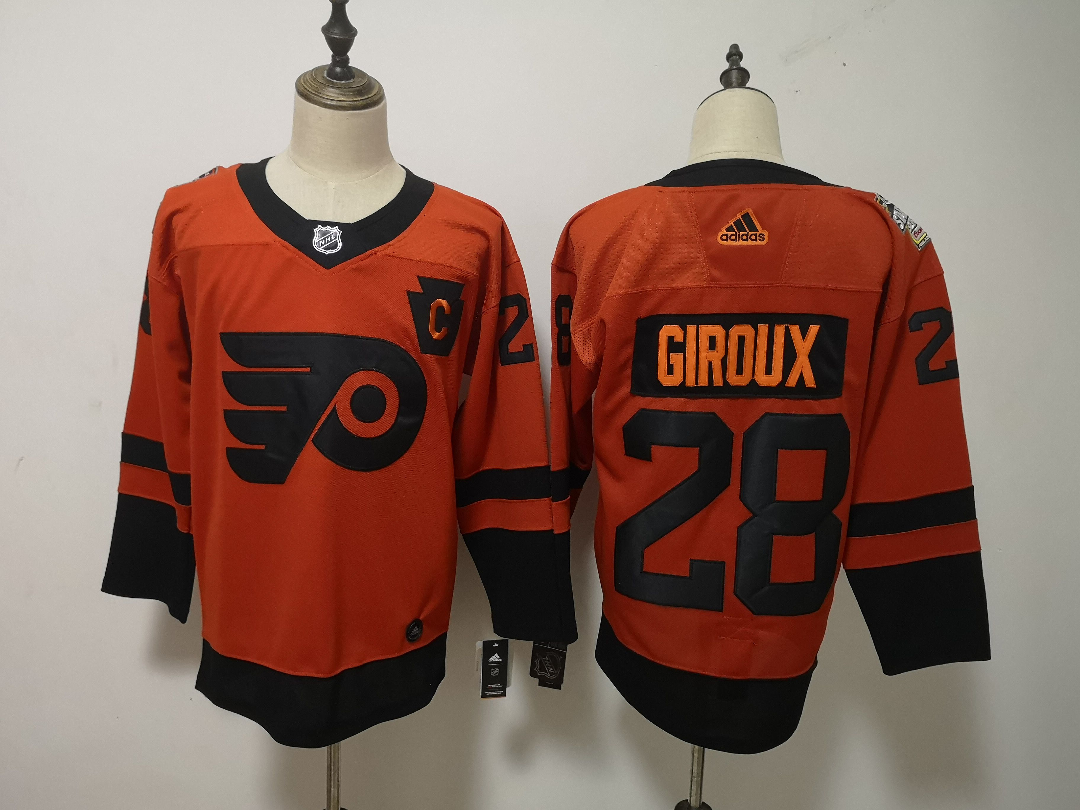 Men Philadelphia Flyers 28 Giroux Orange Adidas Third Edition Adult NHL Jersey