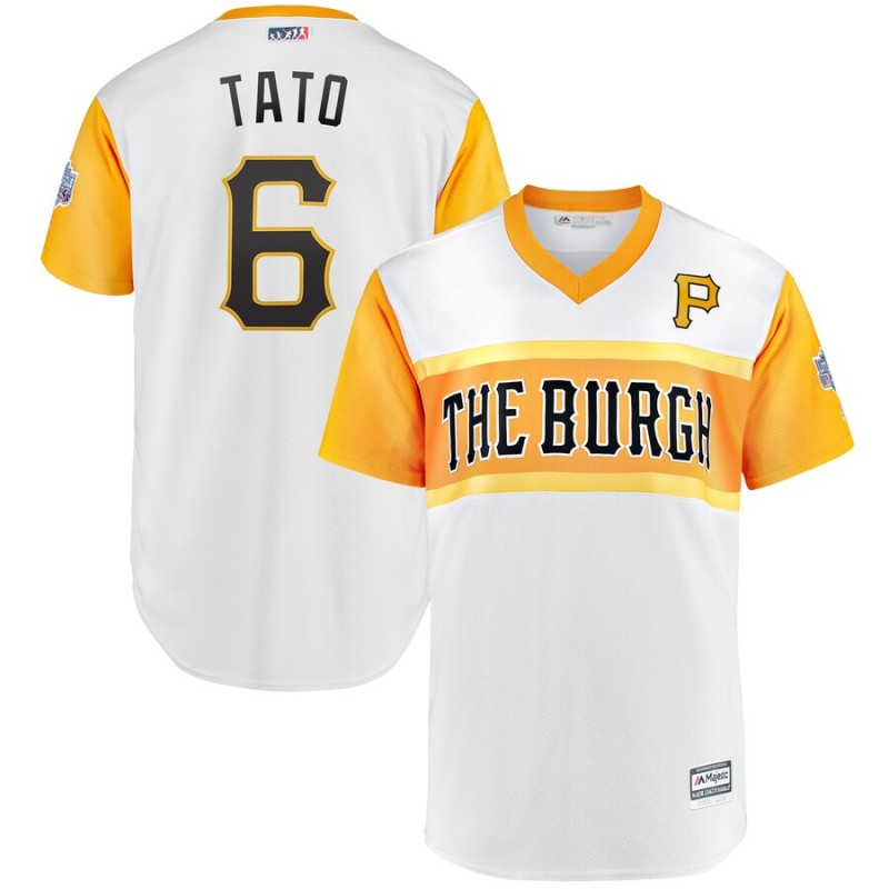 Men Pittsburgh Pirates 6 Tato white yellow MLB Jerseys