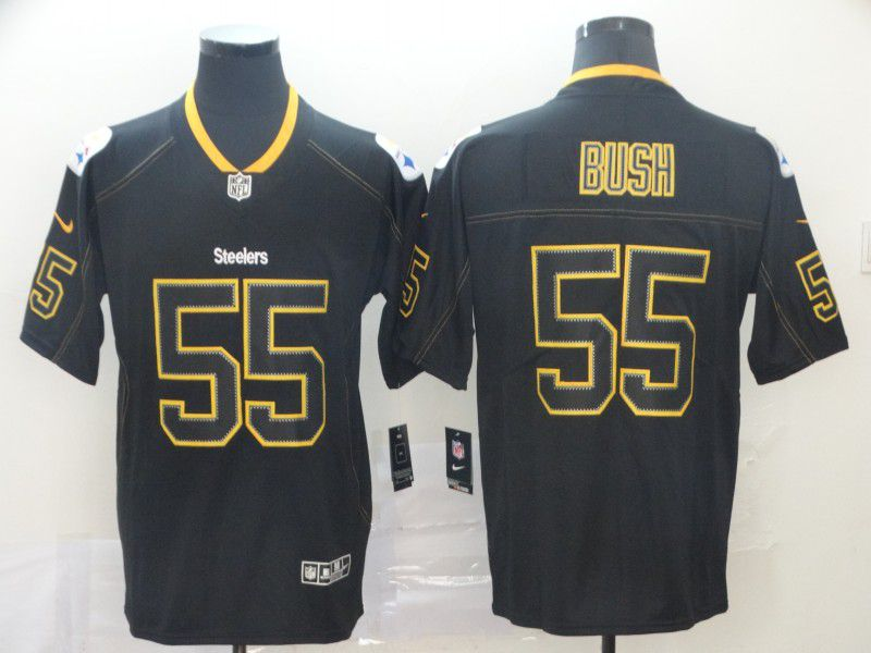 Men Pittsburgh Steelers 55 Bush Nike Lights Out Black Color Rush Limited NFL Jerseys
