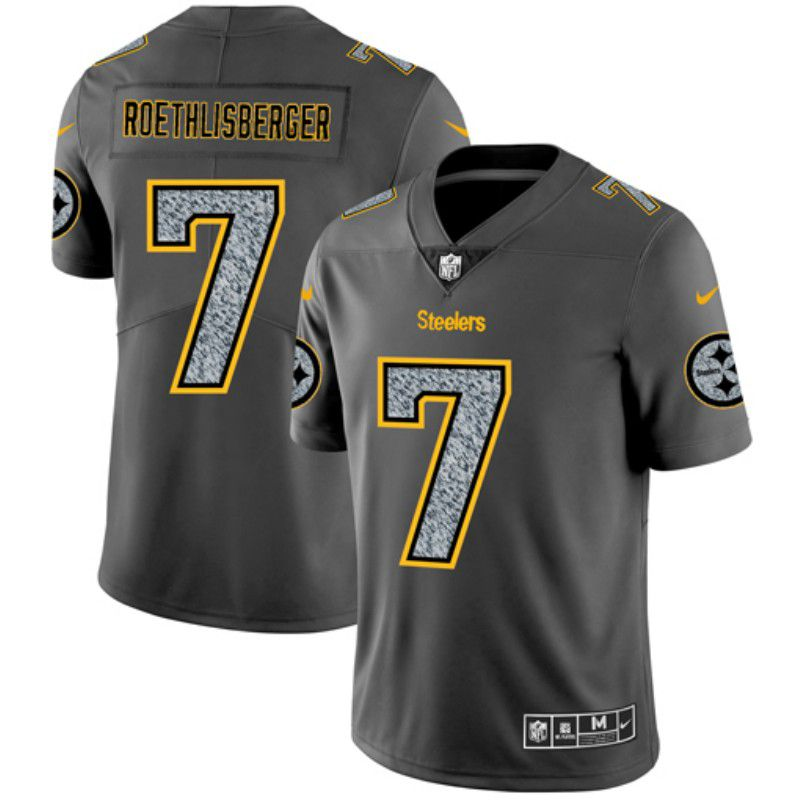 Men Pittsburgh Steelers 7 Roethlisberger Nike Teams Gray Fashion Static Limited NFL Jerseys