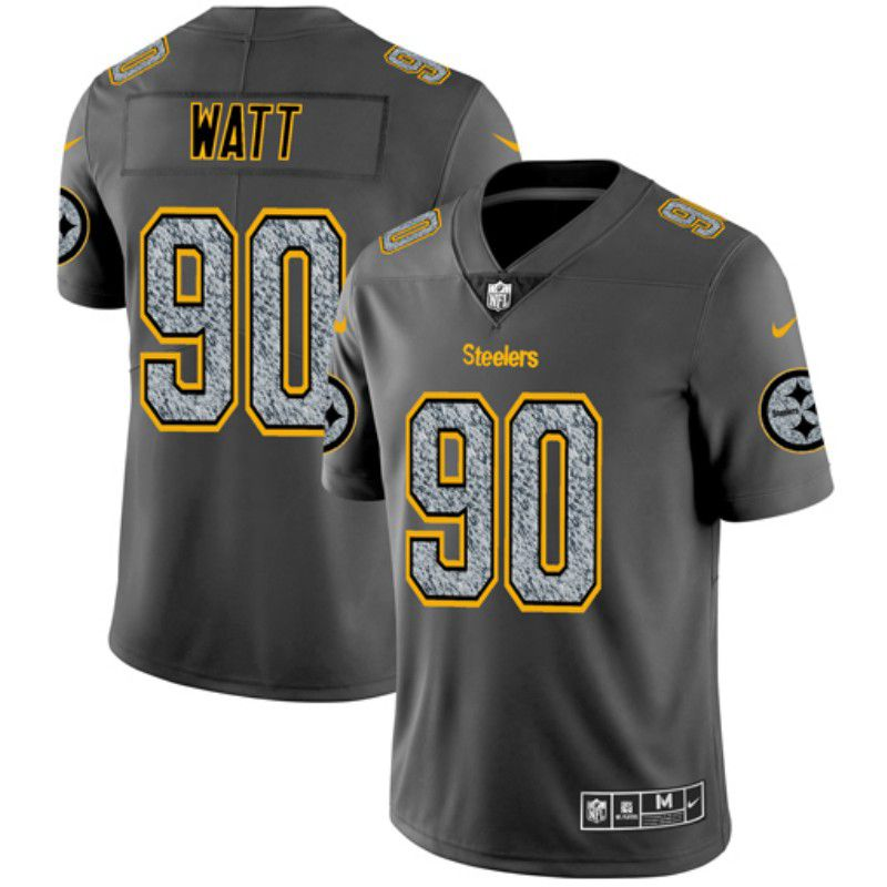 Men Pittsburgh Steelers 90 Watt Nike Teams Gray Fashion Static Limited NFL Jerseys