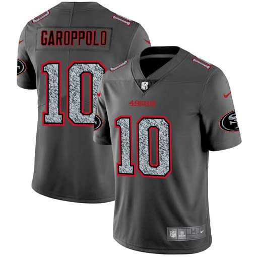 Men San Francisco 49ers 10 Garoppolo Nike Teams Gray Fashion Static Limited NFL Jerseys