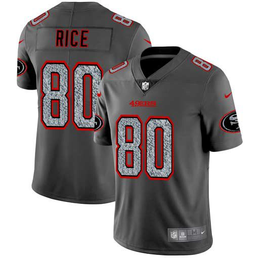 Men San Francisco 49ers 80 Rice Nike Teams Gray Fashion Static Limited NFL Jerseys