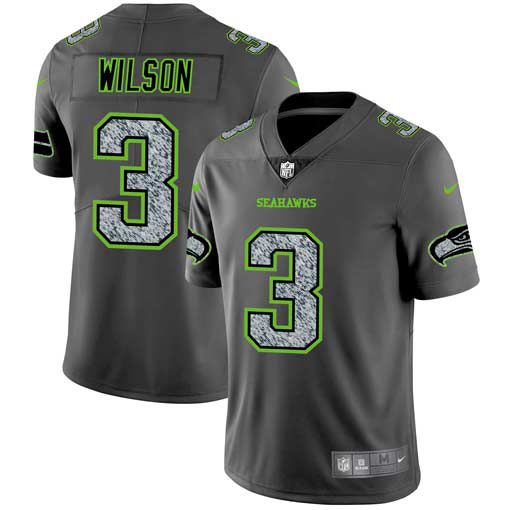 Men Seattle Seahawks 3 Wilson Nike Teams Gray Fashion Static Limited NFL Jerseys