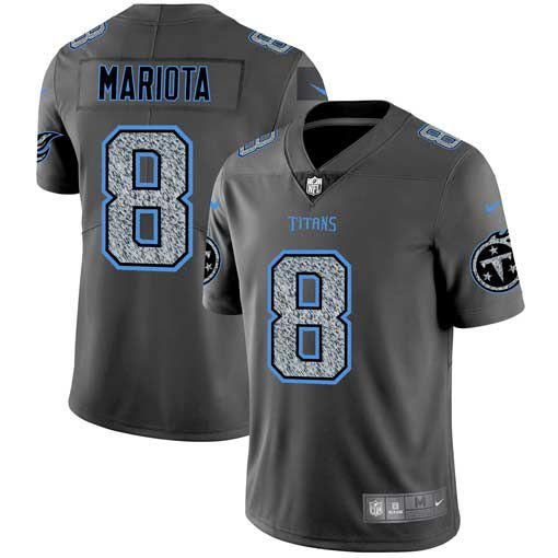 Men Tennessee Titans 8 Mariota Nike Teams Gray Fashion Static Limited NFL Jerseys