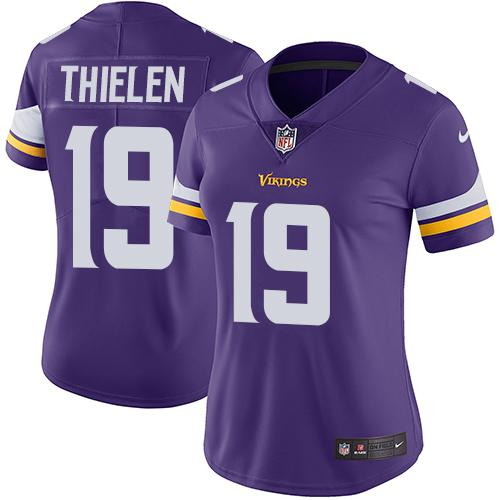 Women 2019 Minnesota Vikings 19 Thielen purple Nike Vapor Untouchable Limited NFL Jersey