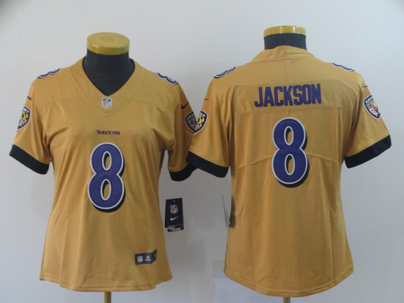 Women Baltimore Ravens 8 Jackson yellow Nike Vapor Untouchable Limited NFL Jersey
