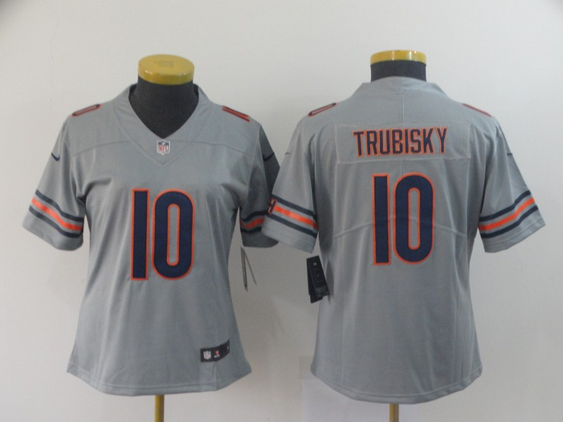 Women Chicago Bears 10 Trubisky Grey Nike Vapor Untouchable Limited NFL Jersey