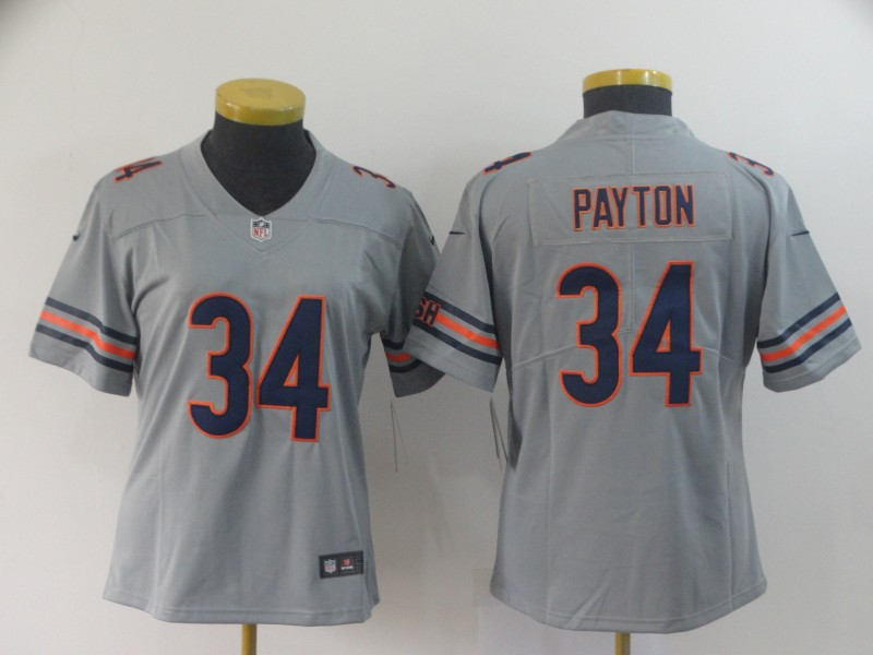Women Chicago Bears 34 Payton Grey Nike Vapor Untouchable Limited NFL Jerseys