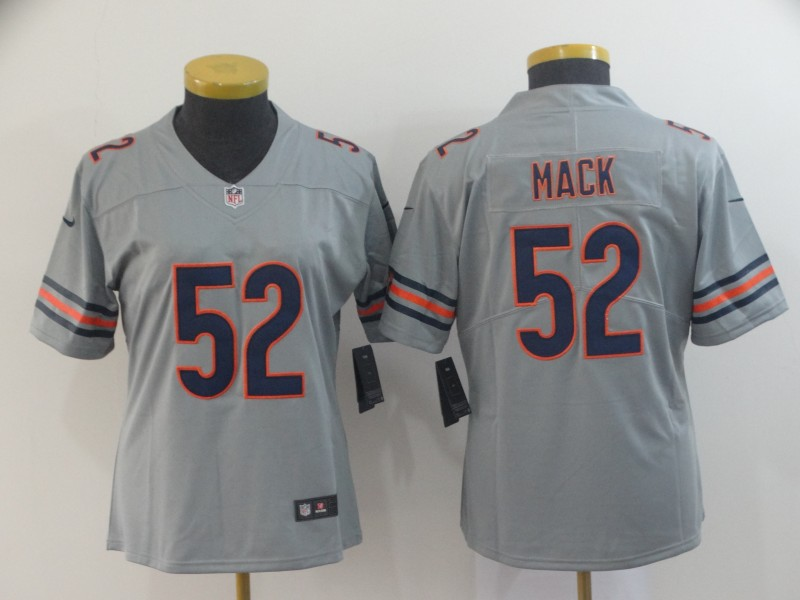 Women Chicago Bears 52 Mack Grey Nike Limited NFL Jerseys