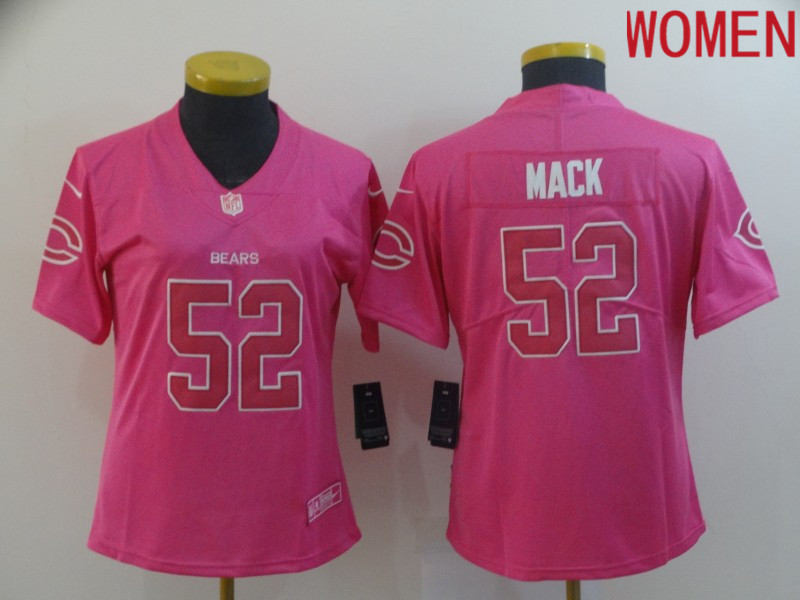 Women Chicago Bears 52 Mack pink Nike Vapor Untouchable Limited NFL Jerseys