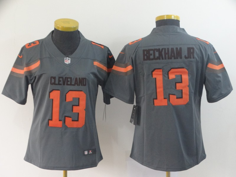Women Cleveland Browns 13 Beckham Jr Grey Nike Vapor Untouchable Limited NFL Jersey