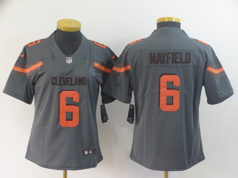Women Cleveland Browns 6 Mayfield Grey Nike Vapor Untouchable Limited NFL Jersey